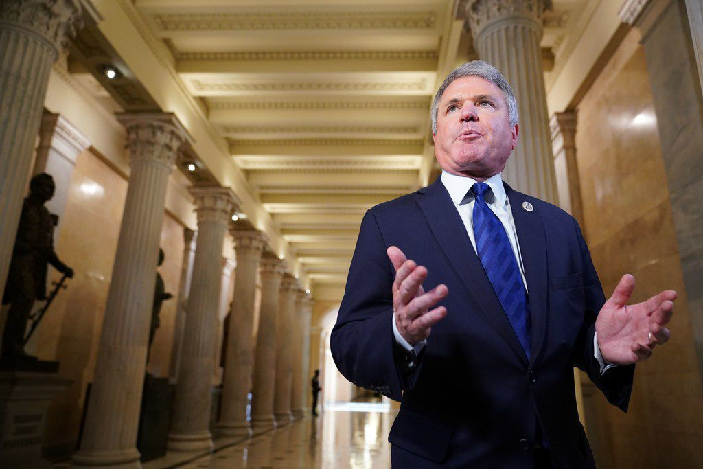 House Homeland Security Committee Chairman Michael McCaul, R-Tx, speaks to reporters after US President Donald Trump addressed the House Republican Conference at the US Capitol in Washington, DC on June 19, 2018.