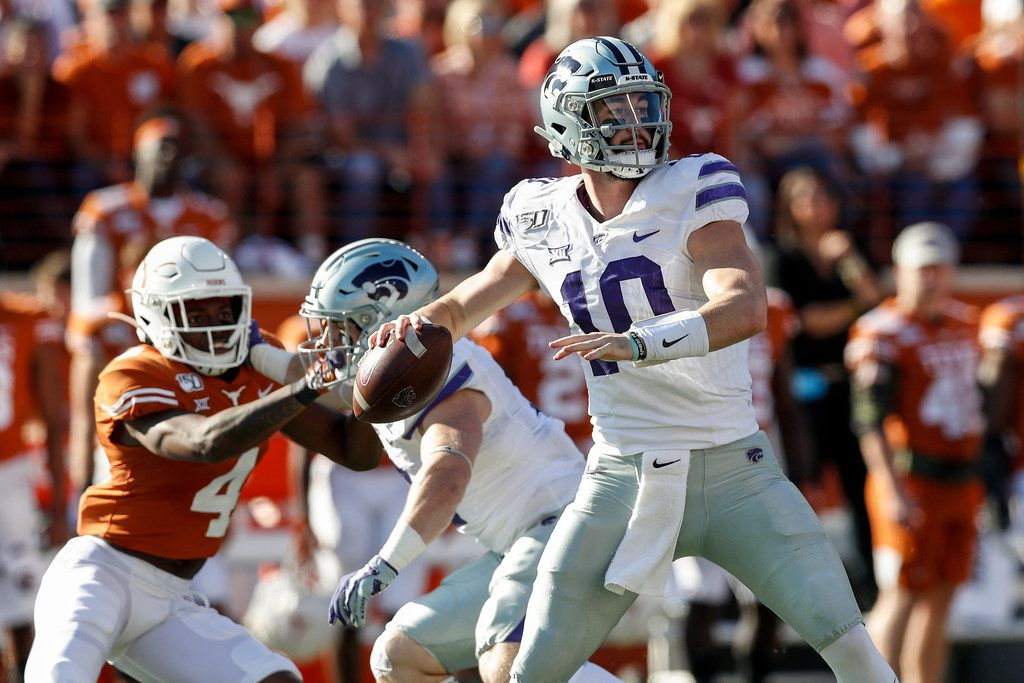 AUSTIN, TX - NOVEMBER 09:  Skylar Thompson #10 of the Kansas State Wildcats looks to pass in the first half against the Texas Longhorns at Darrell K Royal-Texas Memorial Stadium on November 9, 2019 in Austin, Texas.  (Photo by Tim Warner/Getty Images)