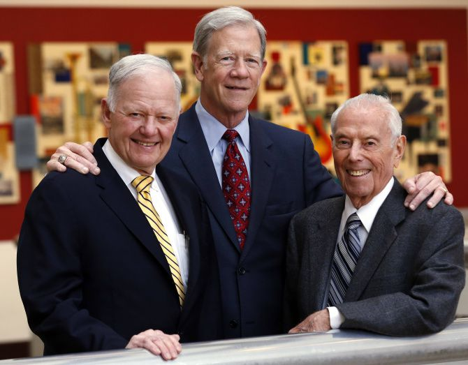 From left: Ray Hunt, John Scovell and George Schrader met recently at the Hyatt Regency. The hotel and Reunion Tower were built through a private-public partnership the three created in 1978.