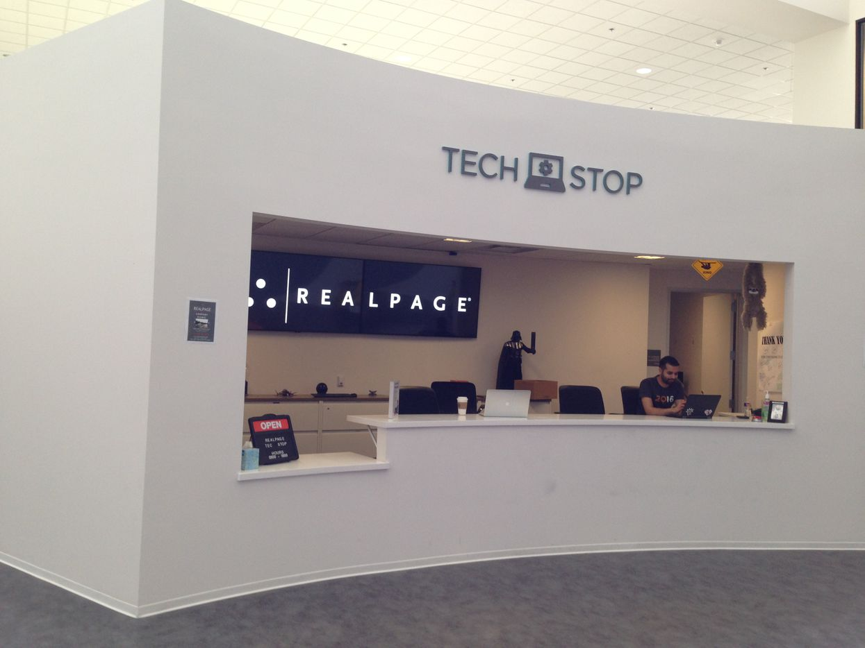 RealPage's tech services desk is located in a high traffic area across from the cafeteria.