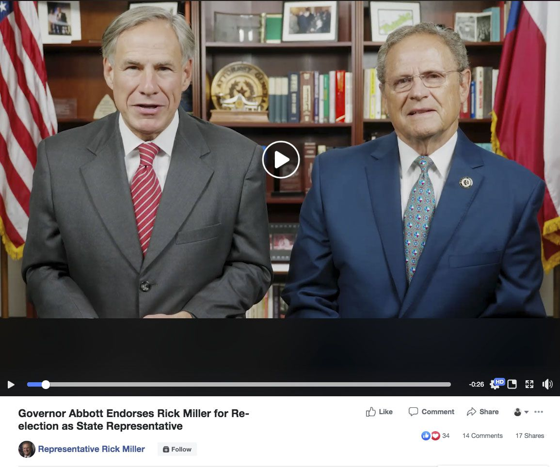 While Gov. Greg Abbott removed an endorsement video with Rep. Rick Miller (R-Sugar Land) from his Facebook page on Tuesday, Dec. 3, 2019, Miller kept his post on his. Texas Gov. Greg Abbott withdraws endorsement of lawmaker who said GOP primary foes are running because they're 'Asian.' In a Houston suburb with rapidly changing demographics, Rep. Rick Miller's comments are 'inappropriate and out of touch,' Abbott spokesman says.