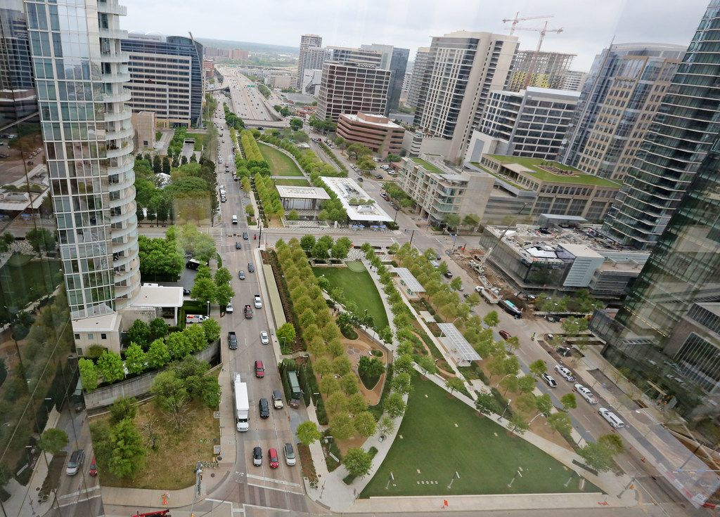 A look at Klyde Warren Park, as seen from 1900 Pearl Tower, the newest downtown Dallas office building,