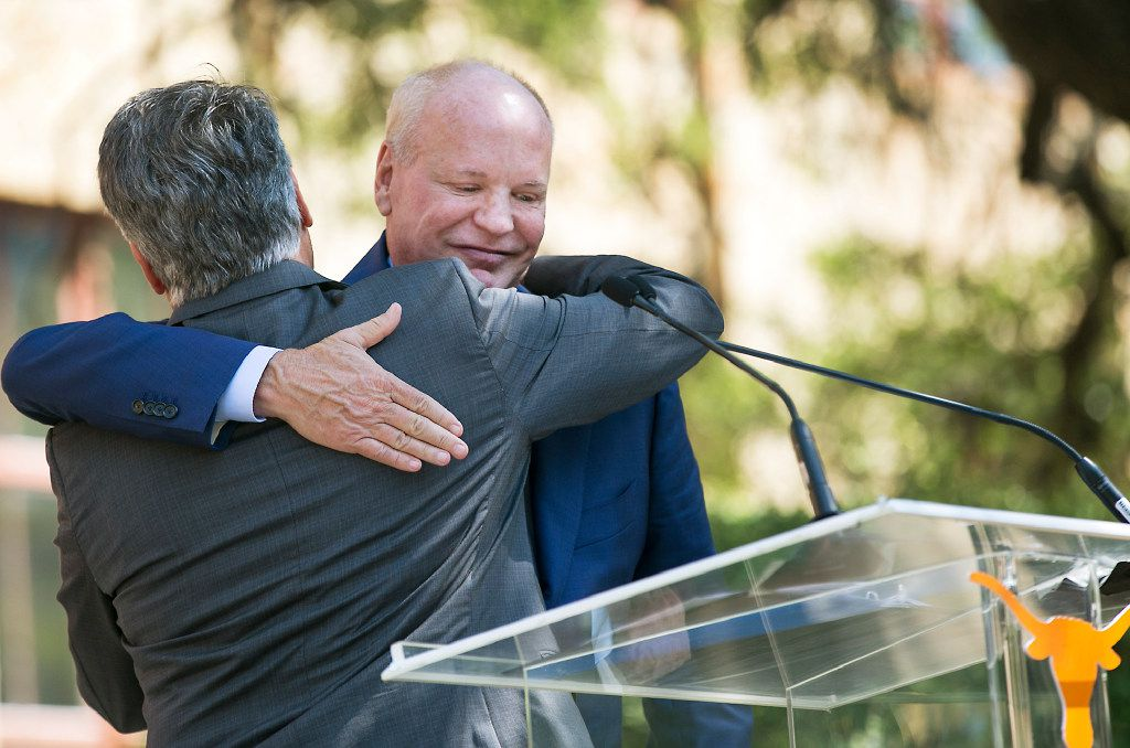 University of Texas System Regent Steve Hicks has gifted $25 million to the School of Social Work in a celebration ceremony in front of the school on campus Wednesday afternoon September 6, 2017. He embraces UT President Greg Fenves after being introduced.