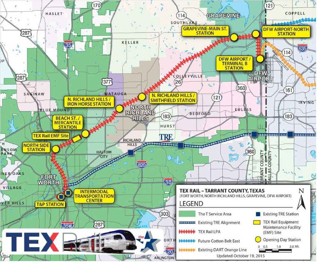 A map shows the proposed route for TEX Rail, a commuter rail line between Fort Worth and DFW International Airport. The rail line, which is being built by the Fort Worth Transportation Authority, is scheduled to open in 2018.