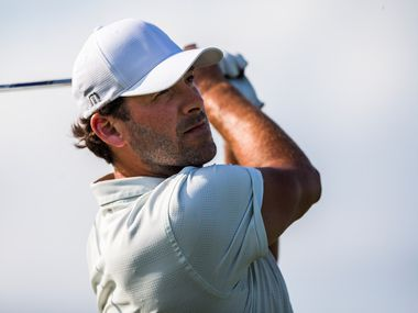 Former Dallas Cowboys quarterback Tony Romo tees off in a Mahan Foundation Match Play charity event ahead of the Byron Nelson golf tournament on Tuesday, May 7, 2019 at the Payne Stewart SMU Golf Training Center at Trinity Forest Golf Club in Dallas, Texas.