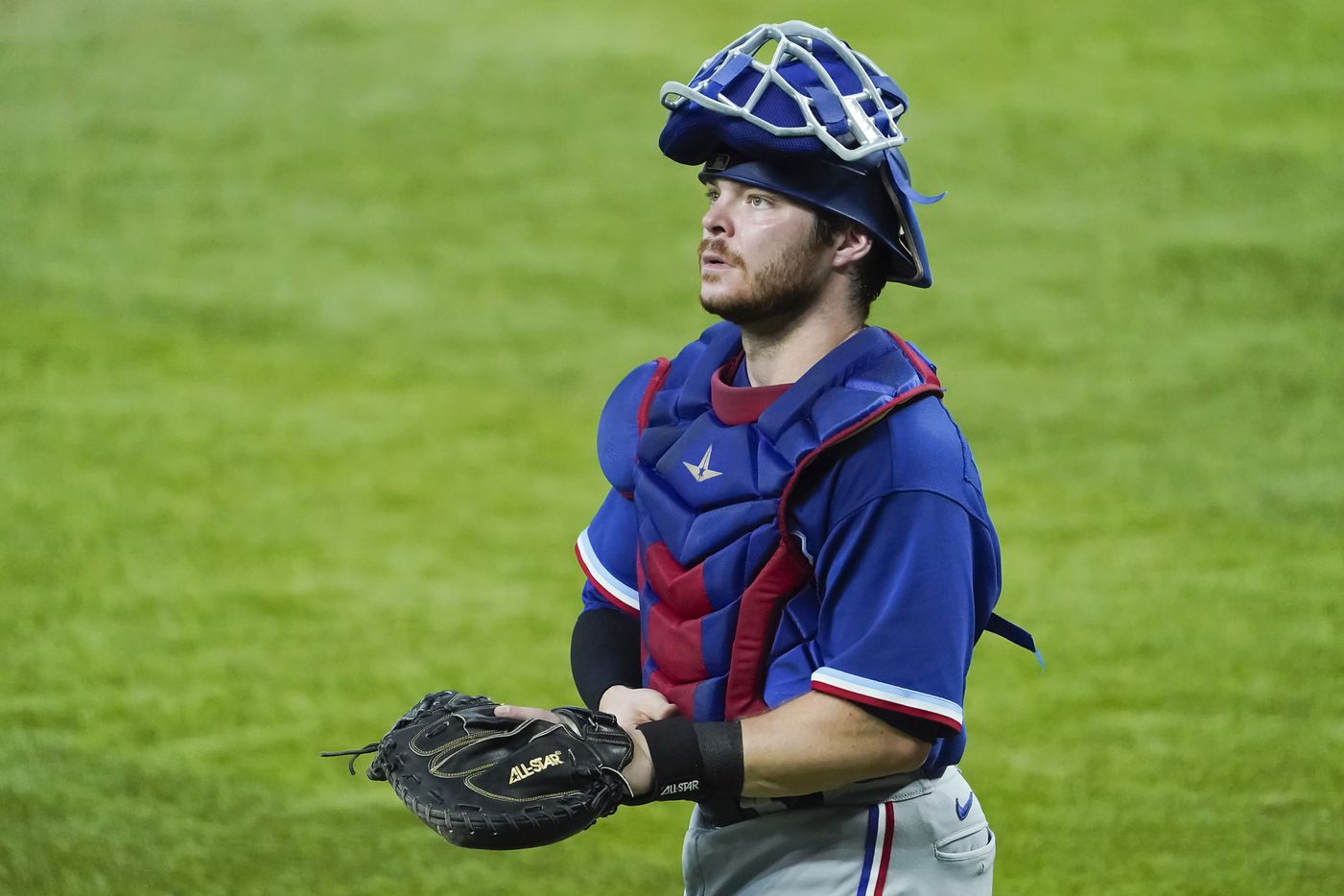 Texas Rangers catcher Matt Whatley looks out on the stadium during a game between players at the team's alternate training site at Globe Life Field on Saturday, Sept. 19, 2020.