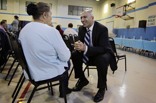 Richardson City Council member Amir Omar met Deborah Deering Schwartz  before a candidate forum at the Dallas Central Mosque. The Islamic Association of North Texas has held the forum for the last eight years.