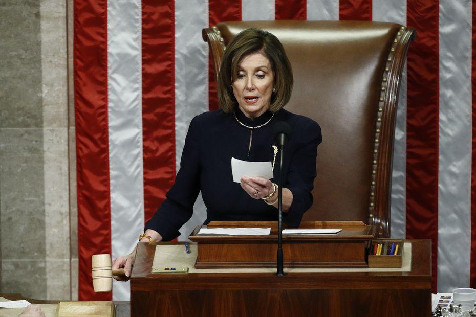 House Speaker Nancy Pelosi announces the passage of article II of impeachment against President Donald Trump on Dec. 18, 2019.