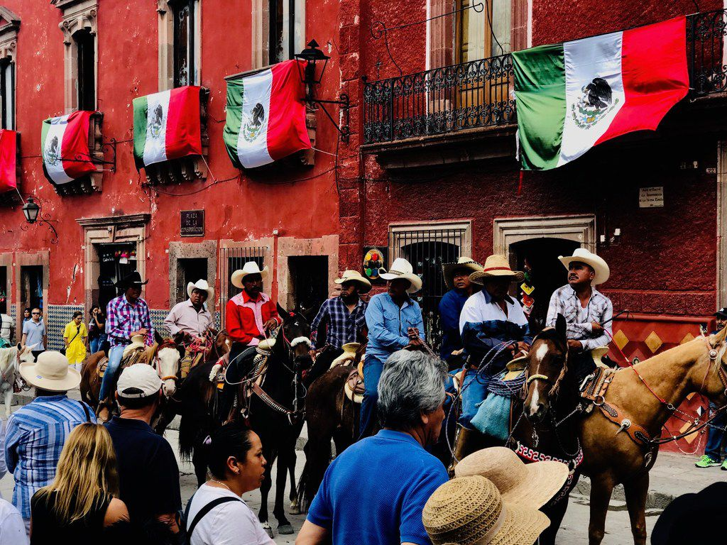 Charros ride the streets of San Miguel de Allende on September 28th as part of the festivities known as Sanmiguelada.