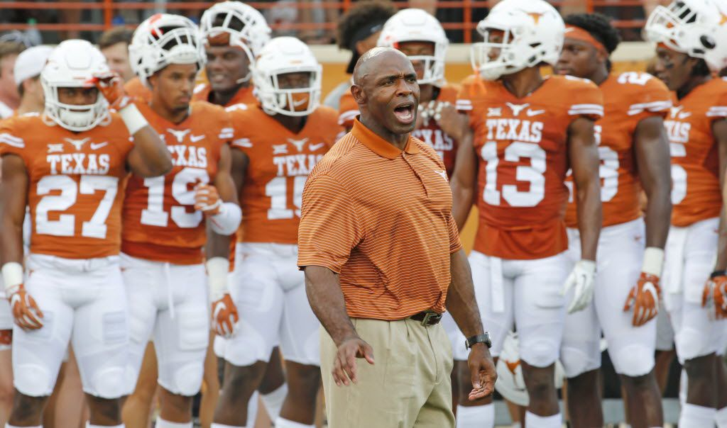 Texas coach Charlie Strong is pictured before the Notre Dame Fighting Irish vs. the University of Texas Longhorns NCAA football game at Darrell K. Royal Memorial Stadium in Austin on Sunday, September 4, 2016. (Louis DeLuca/The Dallas Morning News)