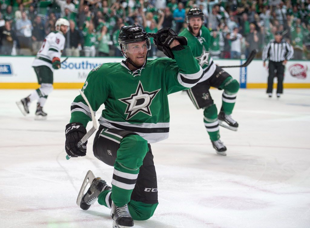 Apr 14, 2016; Dallas, TX, USA; Dallas Stars center Radek Faksa (12) celebrates his goal against the Minnesota Wild during the second period in game one of the first round of the 2016 Stanley Cup Playoffs at American Airlines Center. Mandatory Credit: Jerome Miron-USA TODAY Sports ORG XMIT: USATSI-267940