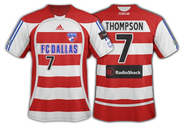 2006-07 FC Dallas red and white hoops with red side panels primary