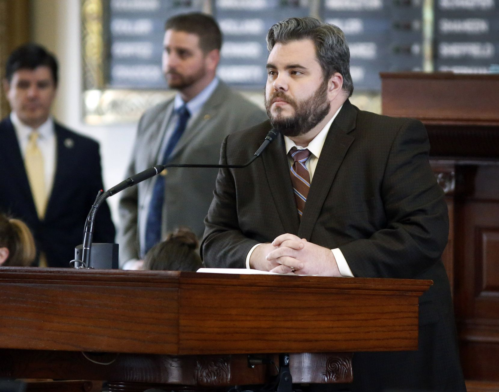 Rep. Jonathan Stickland, R-Bedford, listened to a colleague speak about a bill Wednesday at the Capitol in Austin. (Tom Fox/The Dallas Morning News)