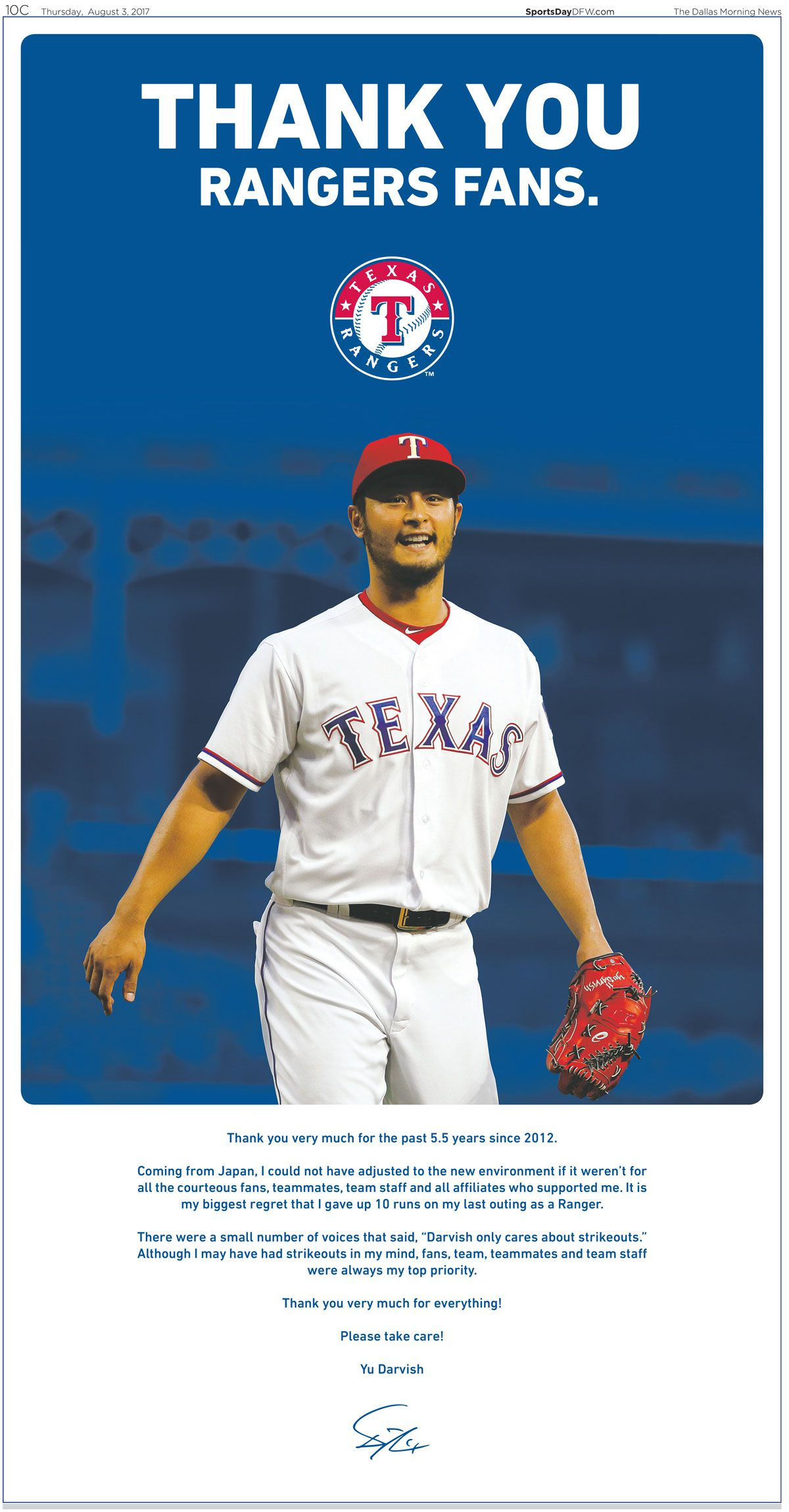 Yu Darvish ad in the Thursday Aug. 3 edition of The Dallas Morning News
