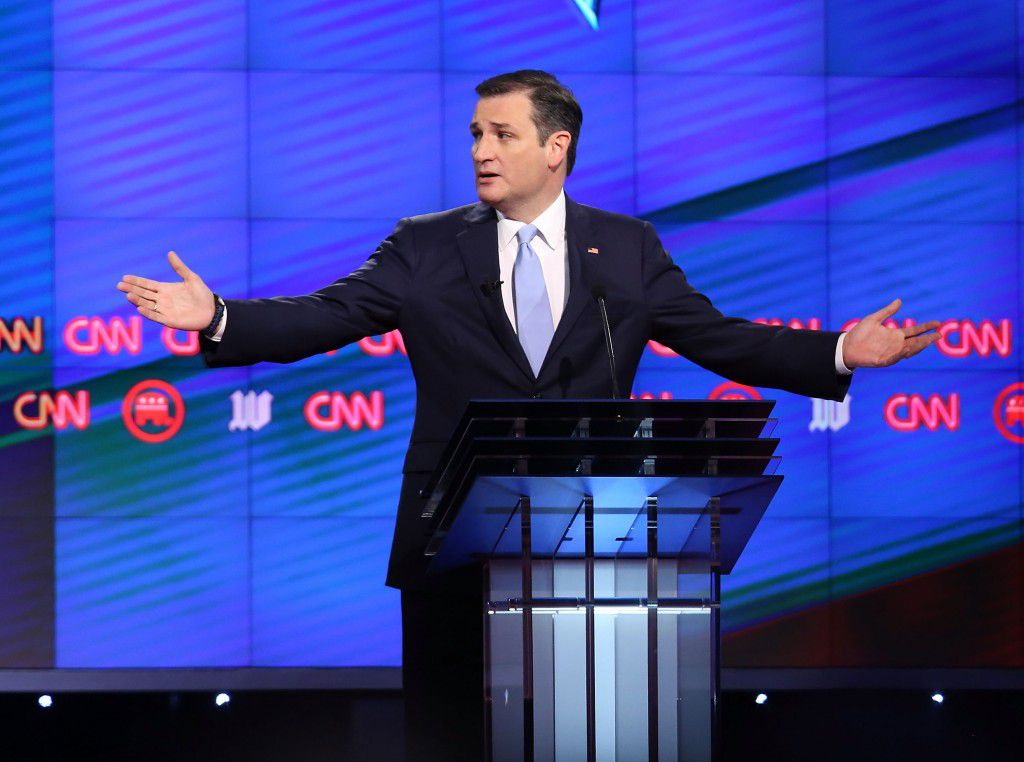 Republican presidential candidate Ted Cruz participated in the 12th Republican presidential debate Thursday in Coral Gables, Fla. (Joe Raedle/Getty Images)