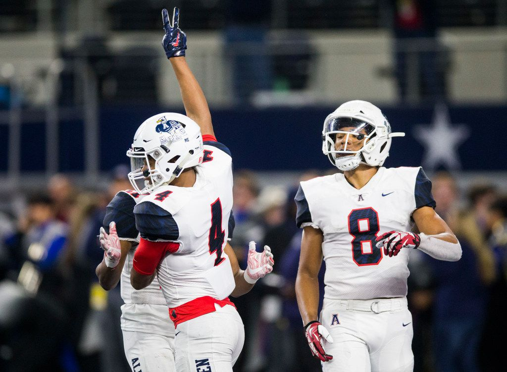 Allen wide reciever Darrion Sherfield (4) celebrates a touchdown during the second quarter of a Class 6A Division I area-round high school football playoff game between Allen and Rockwall on Friday, November 22, 2019 at AT&T Stadium in Arlington. (Ashley Landis/The Dallas Morning News)