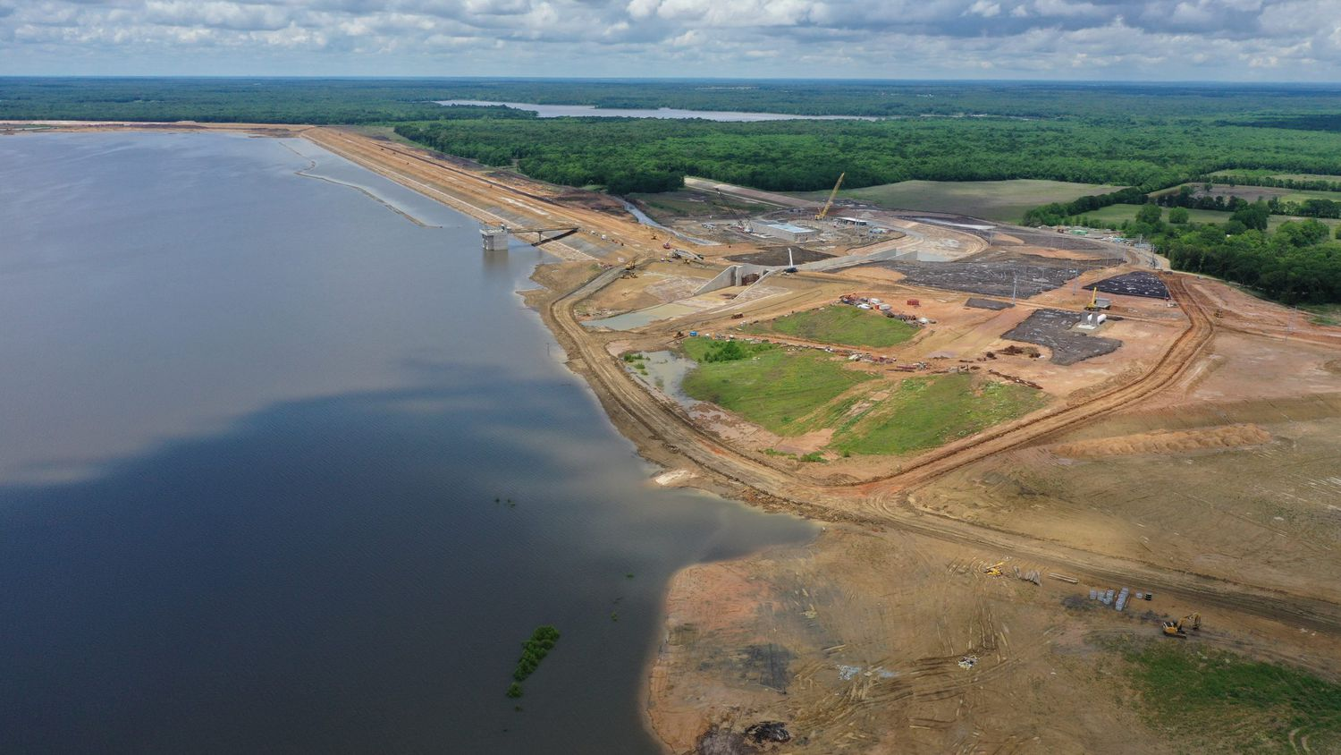 Bois d'Arc Lake is filling quickly and as expected, the North Texas Municipal Water District said. Construction of the lake's dam and surrounding offices are taking place and the lake is planned to begin operating as a reservoir in 2022. (Photo courtesy of the North Texas Municipal Water District)