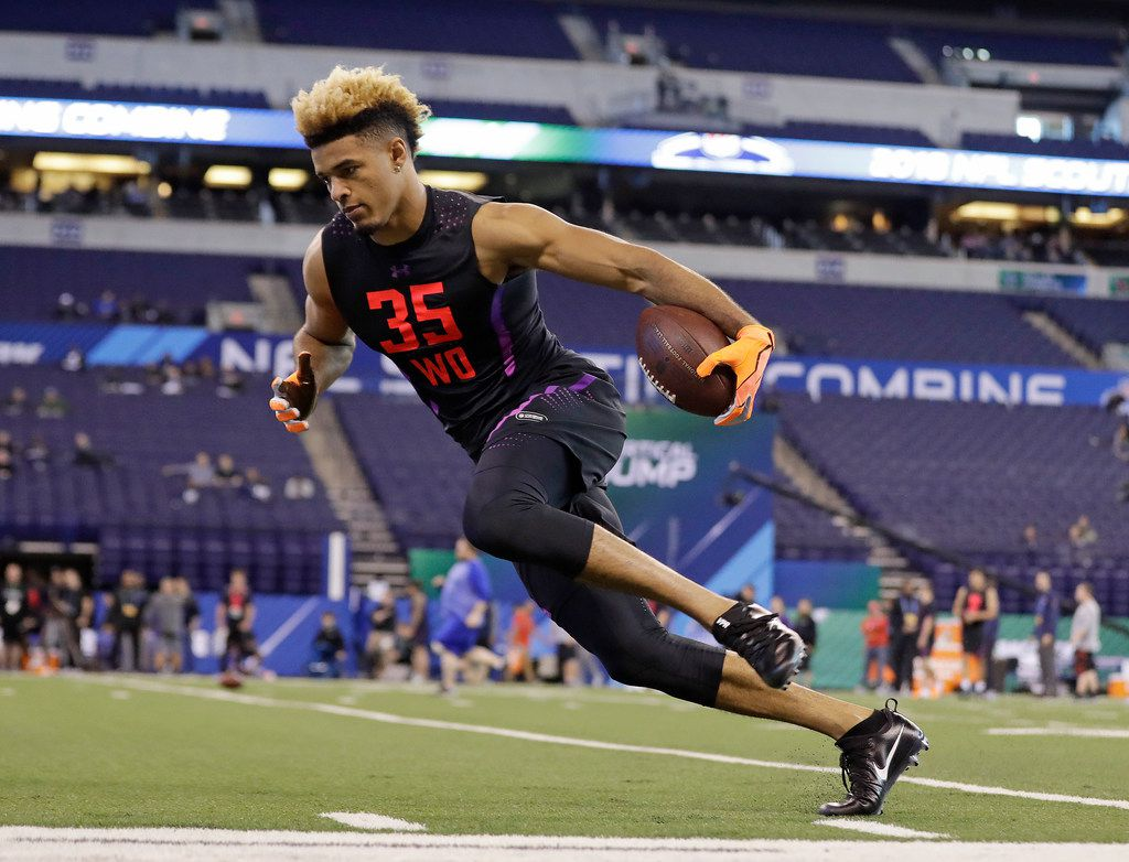 Notre Dame wide receiver Equanimeous St Brown runs a drill during the NFL football scouting combine, Saturday, March 3, 2018, in Indianapolis. (AP Photo/Darron Cummings)