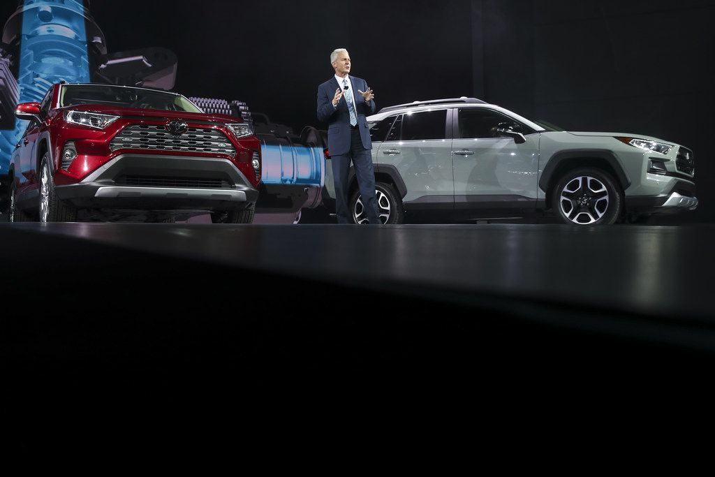 Jack Hollis, group vice president and general manager of the Toyota Division at Toyota Motor North America, speaks about the 2019 Toyota RAV4 after its unveiling at the New York International Auto Show.