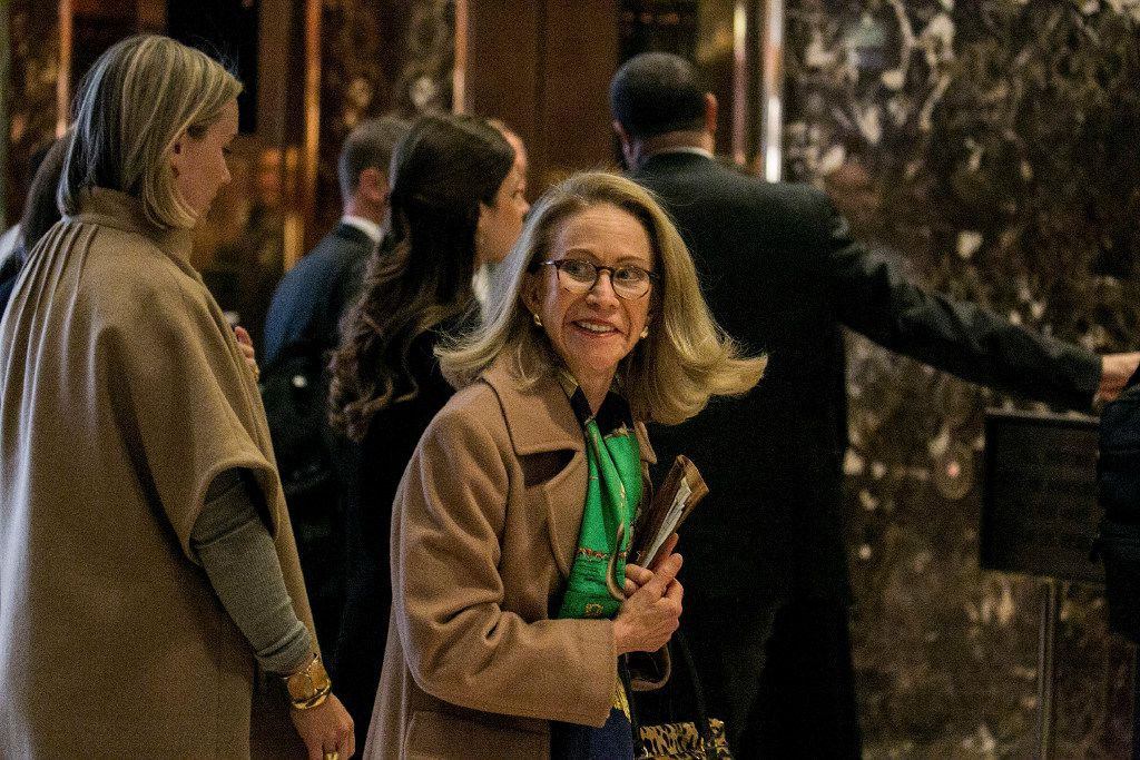 Kathleen Hartnett White, a climate change skeptic and former chairwoman of the Texas Commission on Environmental Quality, stopped by Trump Tower on Nov. 28, 2016.