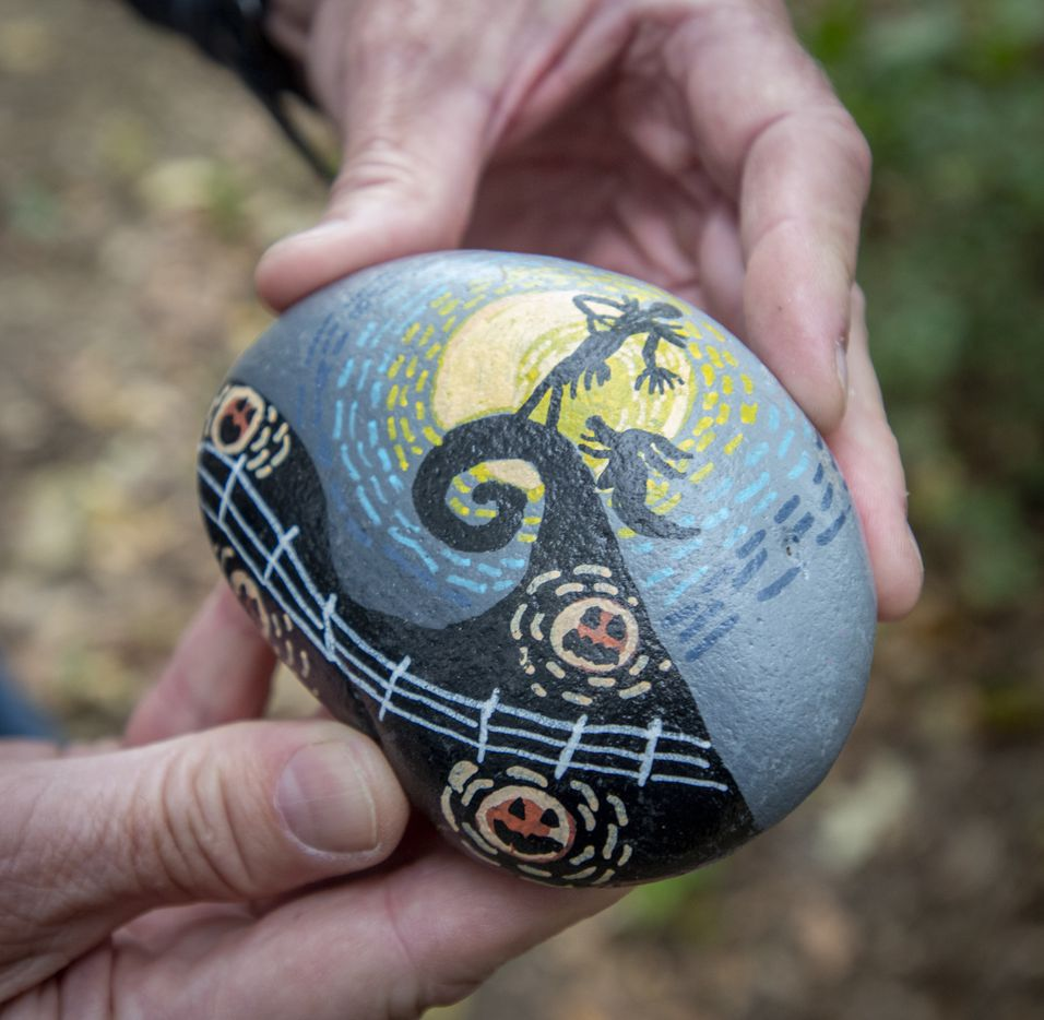 Ron Olsen, who launched the rock art trail, holds one of the hudereds of painted rocks at Parr Park in Grapevine, Texas on October 15, 2020.