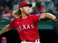 Texas Rangers pitcher Mike Foltynewicz delivers during the third inning against the Baltimore Orioles at Globe Life Field on Friday, April 16, 2021.