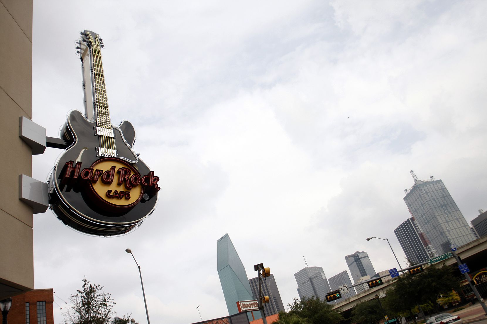 Hard Rock Cafe is the only tenant in the retail center at Lamar and Houston streets.