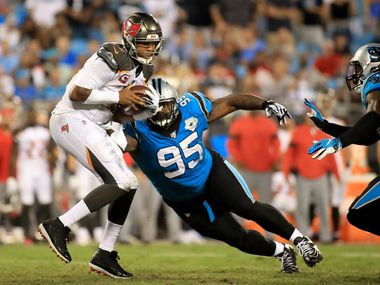 CHARLOTTE, N.C. - SEPT. 12: Dontari Poe #95 of the Carolina Panthers goes after Jameis Winston #3 of the Tampa Bay Buccaneers during a game at Bank of America Stadium on Sept. 12, 2019, in Charlotte, N.C. (Photo by Streeter Lecka/Getty Images)