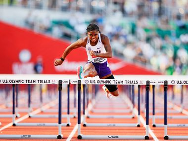 EUGENE, OREGON - JUNE 19: Tonea Marshall competes in the first round of Women's 100 Meter Hurdles on day 2 of the 2020 U.S. Olympic Track & Field Team Trials at Hayward Field on June 19, 2021 in Eugene, Oregon.