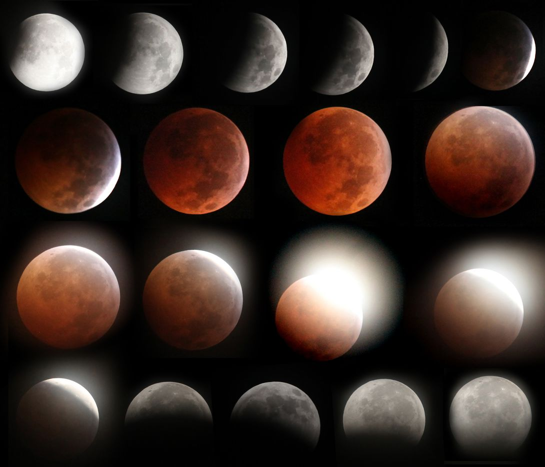 A composite series of images presented in chronological order (beginning at top left) show the progression of the total lunar eclipse as seen from the Oak Cliff area of Dallas on Dec. 21, 2010, as the full moon fell on the date of the winter solstice. The images were shot over a 3-to-4 hour time period beginning about 12:30 a.m. Once the moon was fully eclipsed, it turned a glowing reddish brown color. According to a NASA, while it was merely a coincidence that the eclipse fell on the same date as this year's winter solstice, for eclipse watchers this meant that the moon appeared very high in the night sky, since the solstice marks the time when the Earth's axial tilt is farthest away from the sun.
