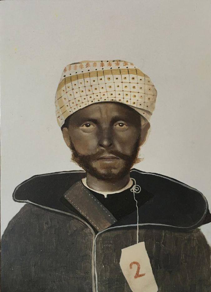 Immigrant series Moroccan, 2016, by Sarah Ball; oil on gessoed panel