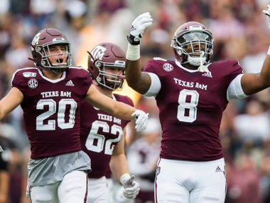 Texas A&M Aggies football players run out on the field before a college football game between Texas A&M and Alabama on Saturday, October 12, 2019 at Kyle Field in College Station, Texas.