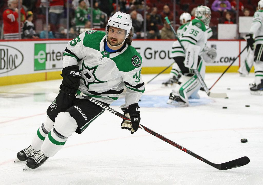 CHICAGO, ILLINOIS - FEBRUARY 24: Mats Zuccarello #36 of the Dallas Stars participates in warm-ups before a game against the Chicago Blackhawks at the United Center on February 24, 2019 in Chicago, Illinois. (Photo by Jonathan Daniel/Getty Images)