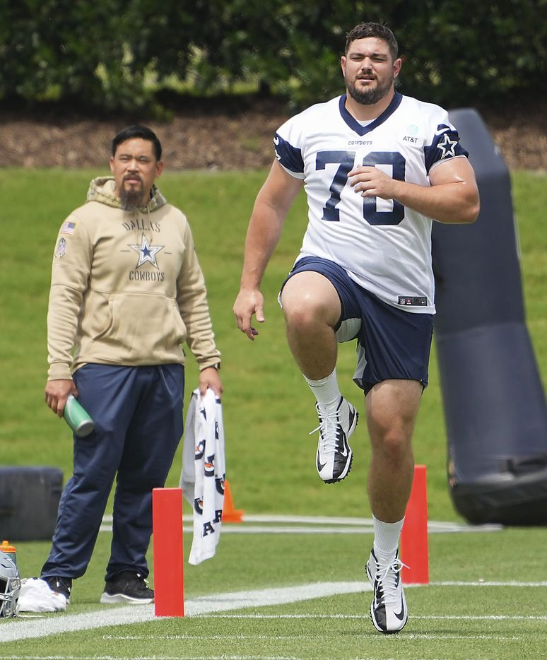 Dallas Cowboys guard Zack Martin (70) does conditioning during a minicamp practice at The Star on Tuesday, June 8, 2021, in Frisco. (Smiley N. Pool/The Dallas Morning News)