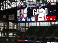 Texas Rangers outfielder Joey Gallo is pictured on the right field video board during Summer Camp at Globe Life Field in Arlington, Texas, Wednesday, July 8, 2020. Gallo hasn't cleared the COVID-19 intake process to return to the team. (Tom Fox/The Dallas Morning News)