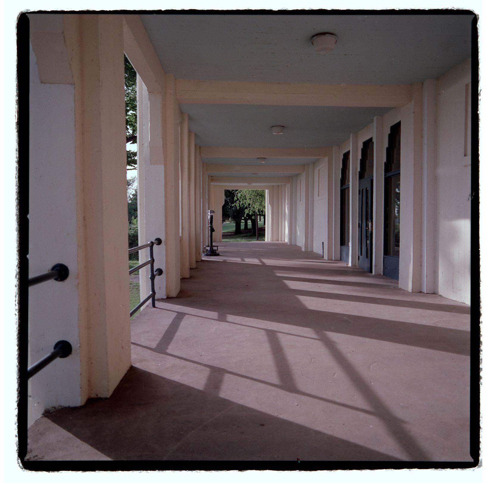 Veranda of the Bath House Cultural Center, which overlooks White Rock Lake.