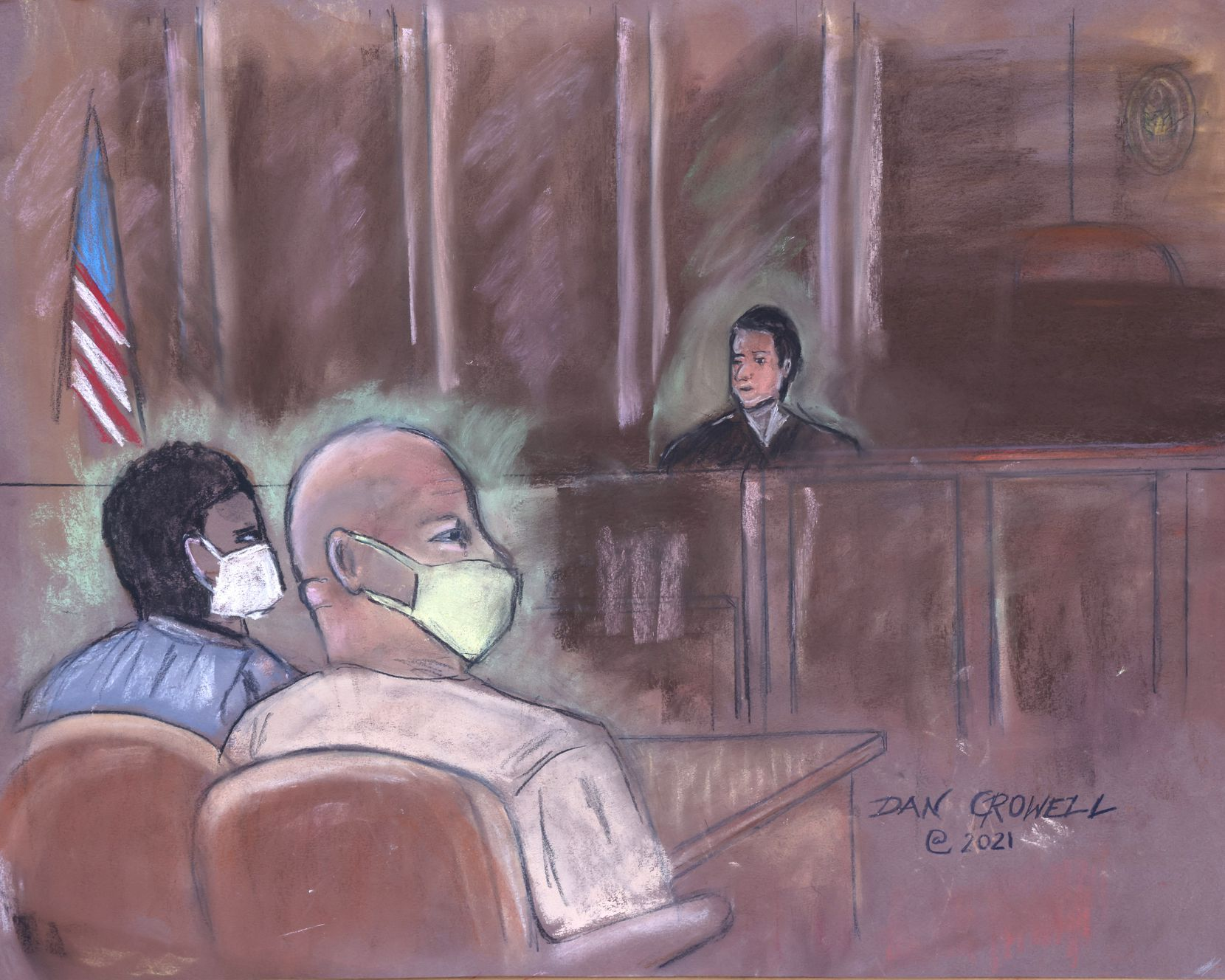 A courtroom sketch by artist Dan Crowell during detention hearing of Larry Brock at the Eldon B Mahon Courthouse on Thursday, Jan. 14, 2020. Brock, a retired Air Force lieutenant colonel, was arrested for his alleged role during U.S. Capitol riot on Jan. 6.