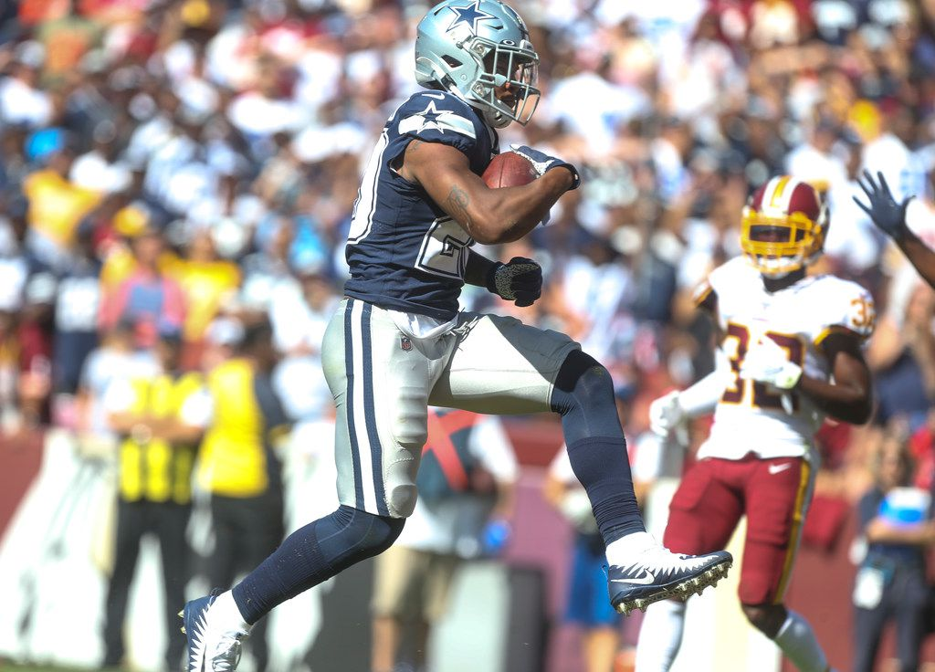 Dallas Cowboys running back Tony Pollard (20) celebrates an apparent touchdown during the second half of an NFL game at FedEx Field in Landover, Maryland on Sunday, September 15, 2019. Cowboys won 31-21. The touchdown was overturned after a penalty.
