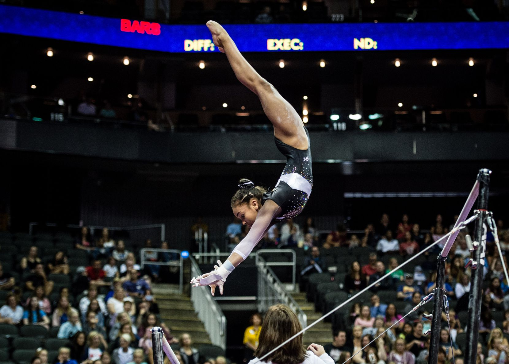 Konnor McClain, who recently moved to Texas to train at WOGA under Valeri Liukin, competes at the 2019 U.S. Championships. Konnor McClain (Revolution)