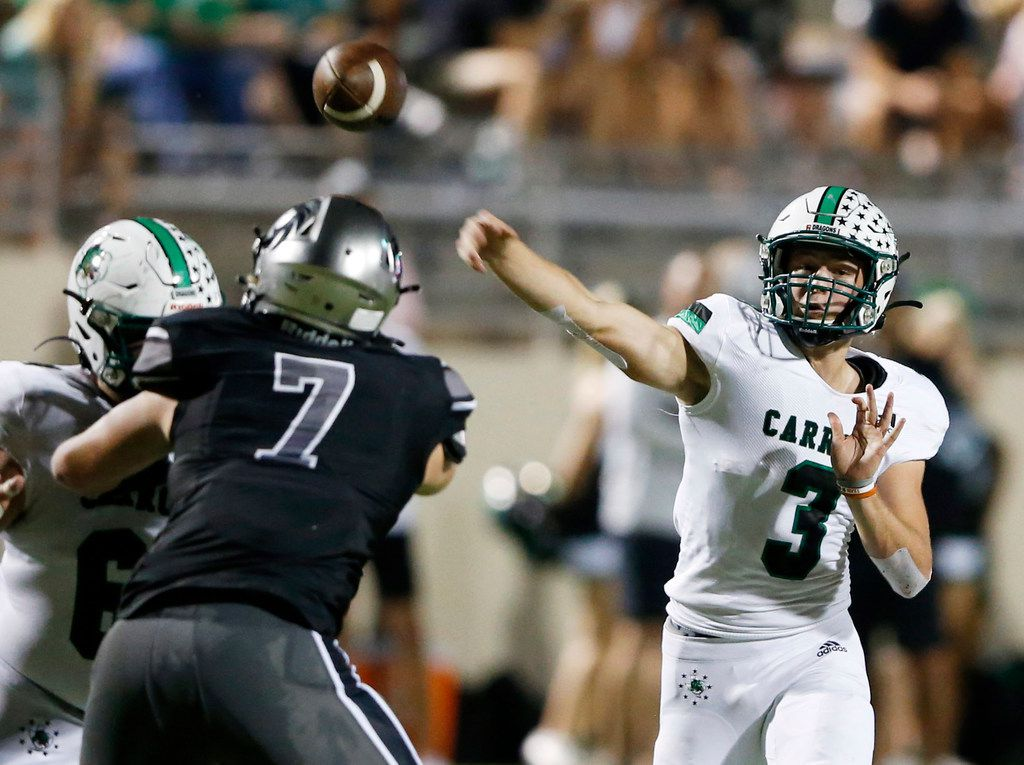 Southlake Carroll's Quinn Ewers (3) attempts a pass in a game against Denton Guyer during the first half of play at C.H. Collins Complex in Denton, on Friday, October 4, 2019.