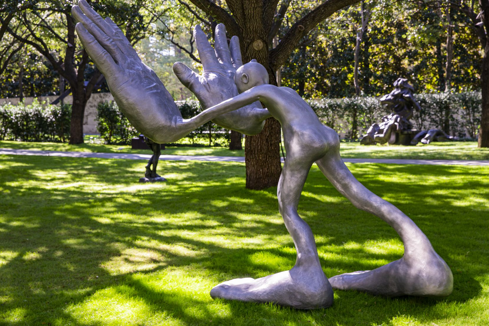 """bighands"" by Dallas artist Nic Nicosia, shown on Oct. 30, 2020, was recently acquired by the Nasher and installed in the sculpture garden."