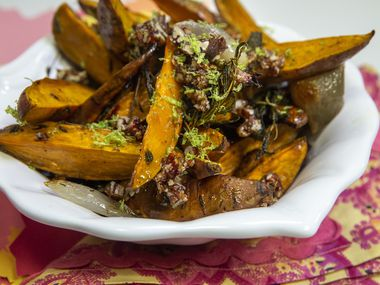 Roasted Sweet Potatoes and Shallots is topped with lime zest and Spicy Pecans — made with hot sauce.