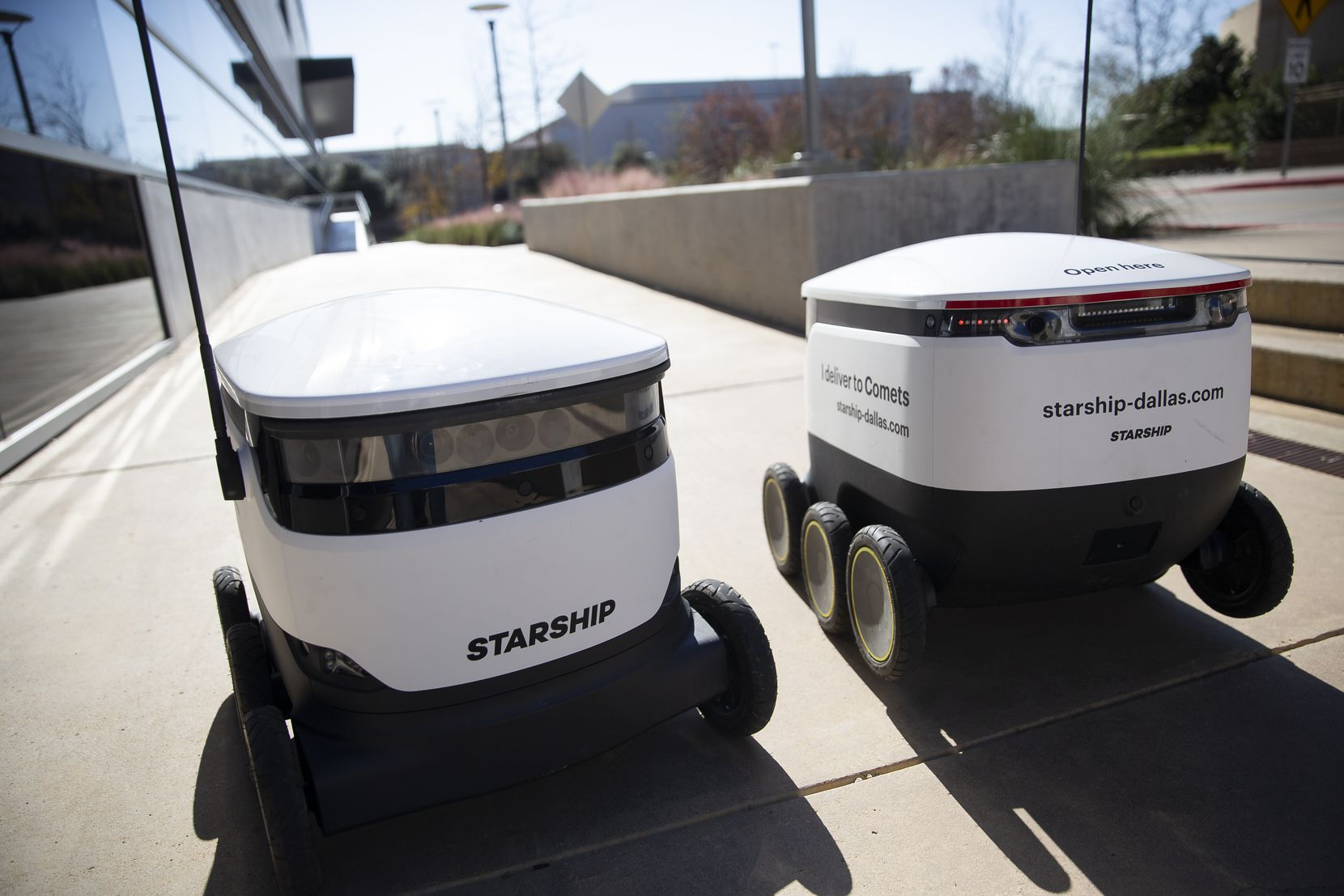 The meal-delivering robots travel up to 4 mph and operate autonomously. Students, staff and faculty order food through a smartphone app. (Juan Figueroa/The Dallas Morning News)