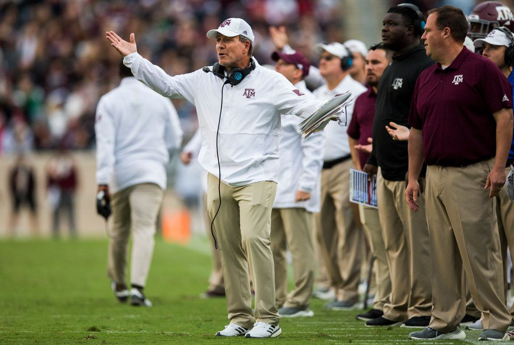 Texas A&M Aggies head coach Jimbo Fisher disputes an Alabama Crimson Tide touchdown during the fourth quarter of a college football game between Texas A&M and Alabama on Saturday, October 12, 2019 at Kyle Field in College Station, Texas.