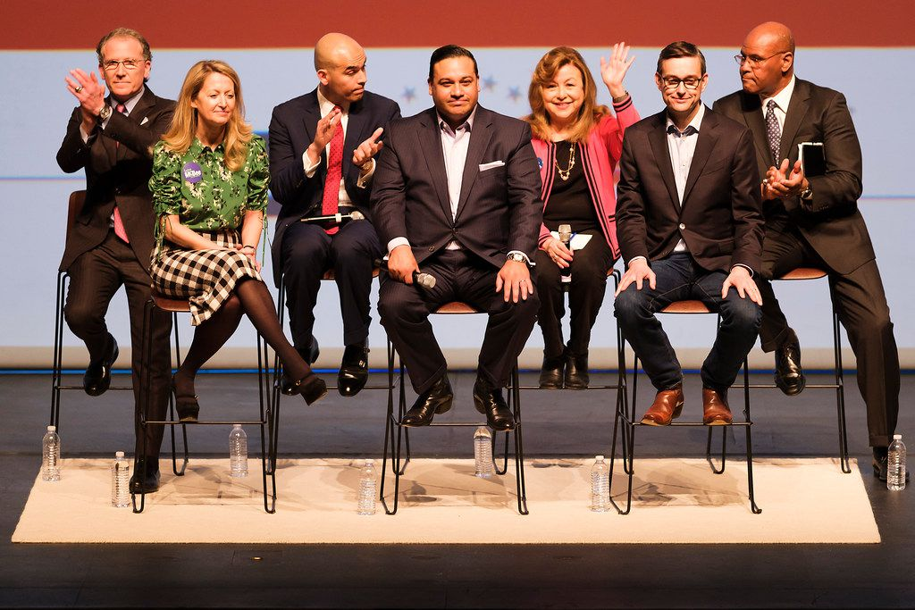 From left: Dallas mayoral candidates Mike Ablon, Lynn McBee, Miguel Solis, Jason Villalba, Regina Montoya, Scott Griggs and Albert Black acknowledge the crowd at the end of the Engage Dallas 2019 mayoral candidates forum hosted by the Mayor's Star Council at the Music Hall at Fair Park on March 8, 2019.
