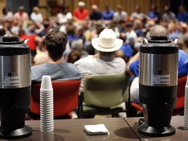 There is plenty of coffee on hand during the all-staff meeting and prayer at Watermark Community Church in Dallas, Tuesday, September 3, 2019. (Tom Fox/The Dallas Morning News) ORG XMIT: DMN1909091533530991