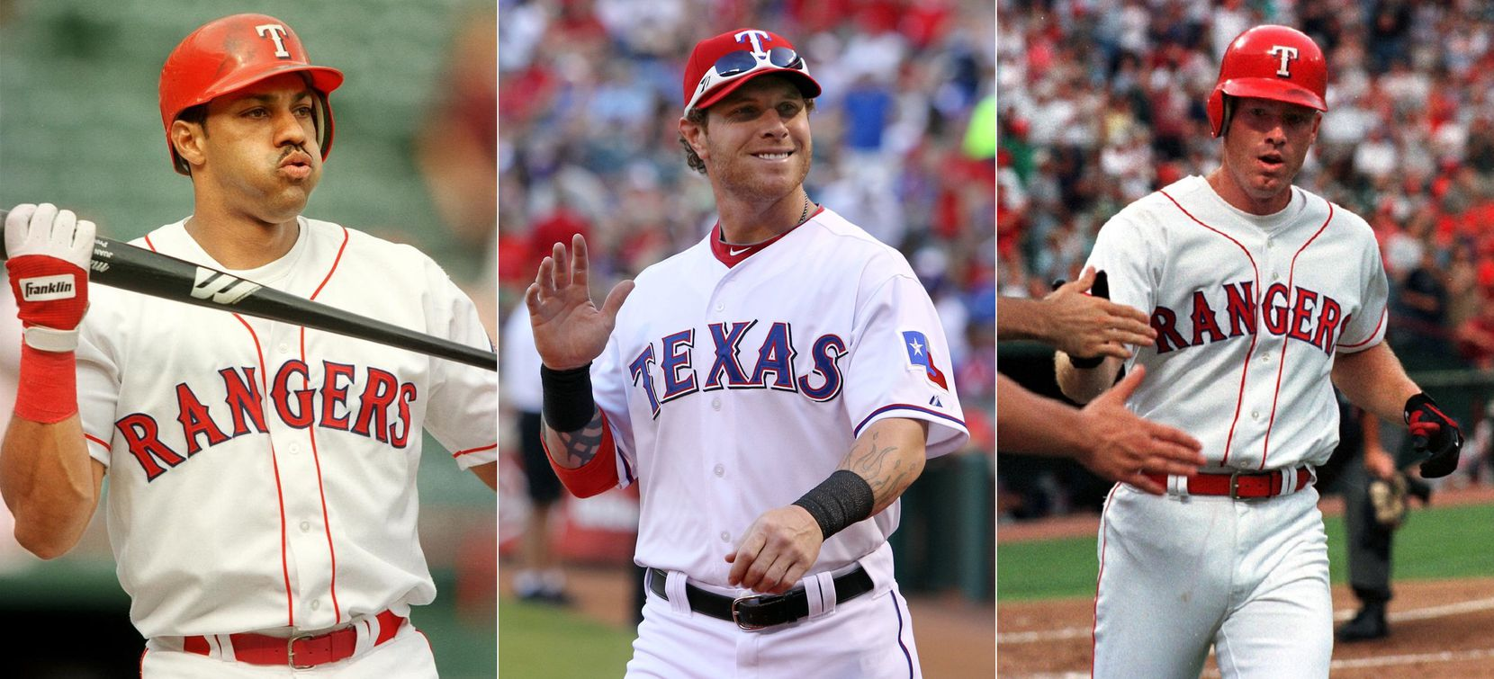 Rangers outfielders through the Globe Life Park years, (from L to R) Juan Gonzalez, Josh Hamilton, and Rusty Greer
