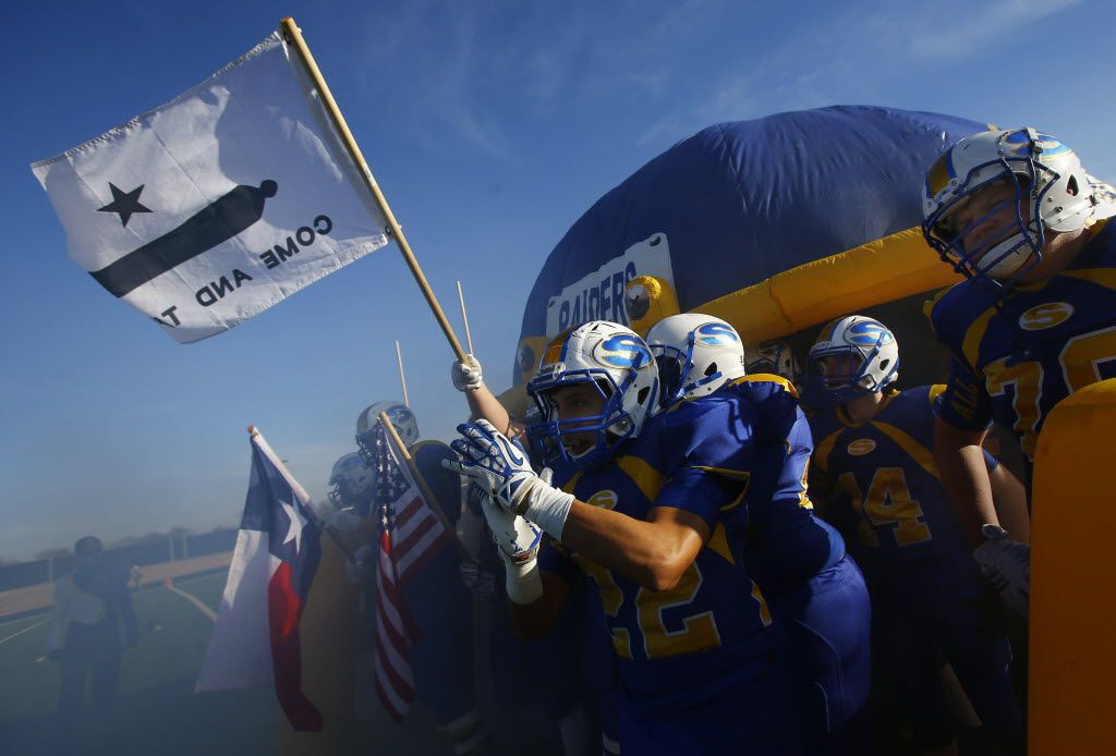 TXHSFB Sunnyvale prepares to take the field for the second half against Mineola  in their state quarterfinal high school playoff football game in Royse City, Texas, Saturday, December 5, 2015. Mike Stone/Special Contributor