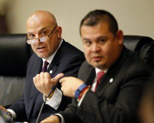 Fort Worth Superintendent Kent Scribner (left) and school board President Jacinto Ramos led an open meeting as hundreds turned out to speak out on the district's transgender policy in schools. (Tom Fox/Staff Photographer)