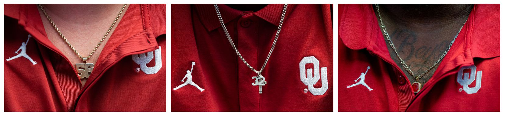 From left, University of Oklahoma players Creed Humphrey,  CeeDee Lamb, and Neville Gallimore wear necklaces during the Big 12 Conference Media Days event at the AT&T Stadium in Arlington on July 16, 2019.